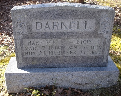The tombstone of Harrison and Nicie Darnell, Betty's Creek Baptist Church Cemetery, Rabun County, Georgia